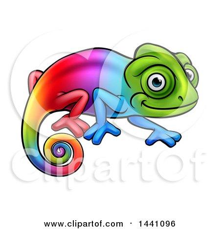 clipart of a cartoon happy rainbow chameleon lizard - royalty free