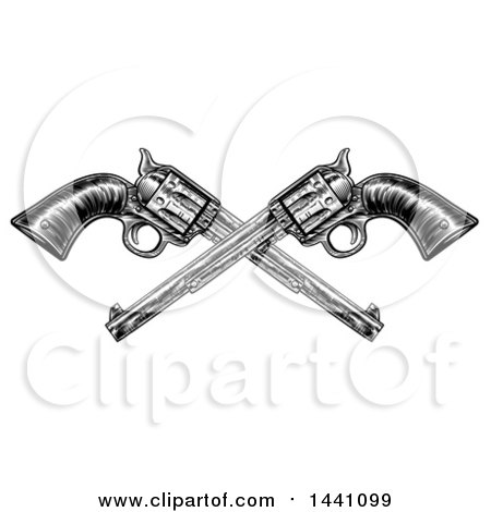 Clipart of Black and White Woodcut Etched or Engraved Crossed Vintage Pistols - Royalty Free Vector Illustration by AtStockIllustration