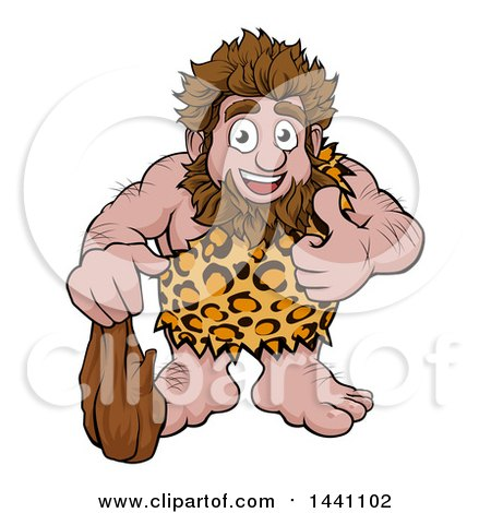 Clipart of a Cartoon Happy Caveman Holding a Club and Giving a Thumb up - Royalty Free Vector Illustration by AtStockIllustration