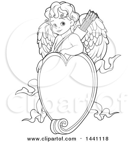 Clipart of a Cartoon Black and White Lineart Baby Cupid over a Valentine Love Heart Frame - Royalty Free Vector Illustration by Pushkin