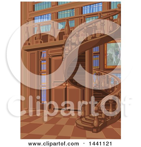 Clipart of a Spiral Staircase and Library Interior - Royalty Free Vector Illustration by Pushkin