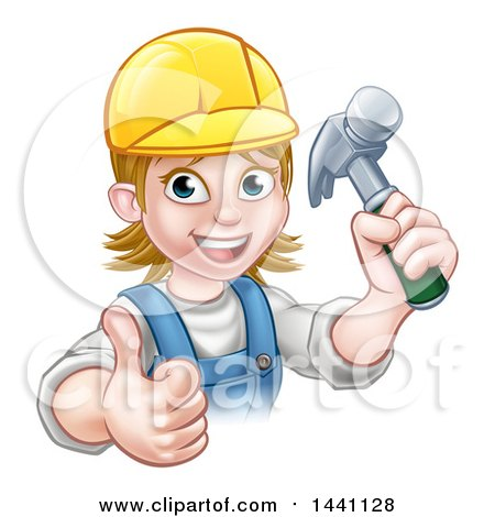 Cartoon Happy White Female Carpenter Holding up a Hammer and Giving a Thumb up Posters, Art Prints