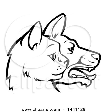 Clipart of Black and White Profiled Dog and Cat Faces - Royalty Free Vector Illustration by AtStockIllustration