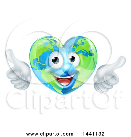 Happy Heart Shaped Earth Globe Character Giving Two Thumbs up Posters, Art Prints