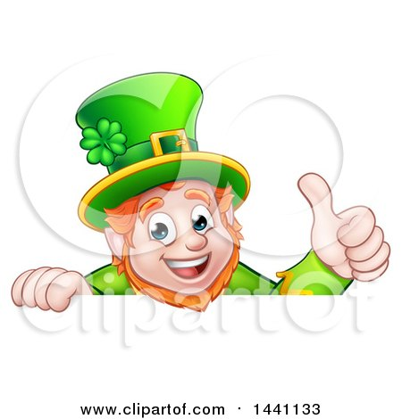 Clipart of a Happy St Patricks Day Leprechaun Giving a Thumb up over a Sign - Royalty Free Vector Illustration by AtStockIllustration