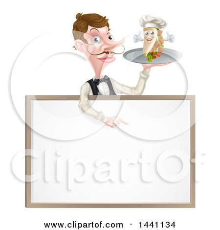 Clipart of a Cartoon Caucasian Male Waiter with a Curling Mustache, Holding a Kebab Sandwich Character on a Tray, Pointing down over a Blank Sign - Royalty Free Vector Illustration by AtStockIllustration