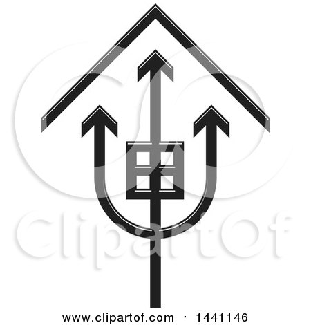 Clipart of a Black and White Trident House Icon - Royalty Free Vector Illustration by Lal Perera