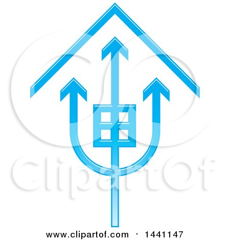 Clipart of a Blue Trident House Icon - Royalty Free Vector Illustration by Lal Perera