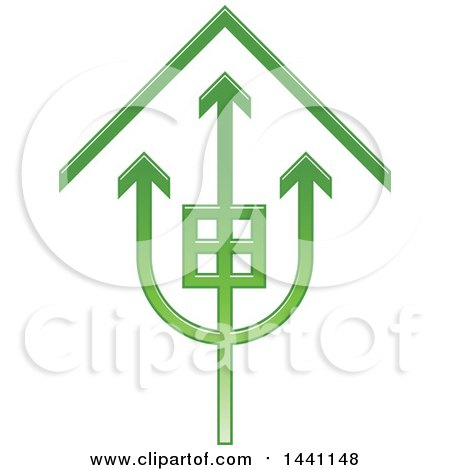 Clipart of a Green Trident House Icon - Royalty Free Vector Illustration by Lal Perera