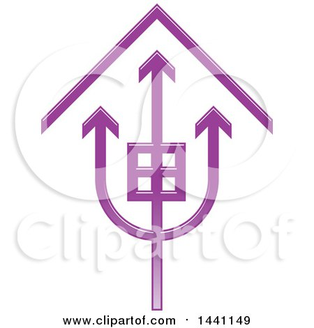 Clipart of a Purple Trident House Icon - Royalty Free Vector Illustration by Lal Perera