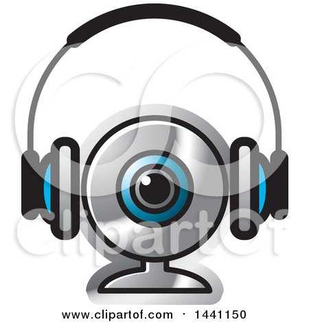 Clipart of a Pair of Headphones and a Webcam - Royalty Free Vector Illustration by Lal Perera