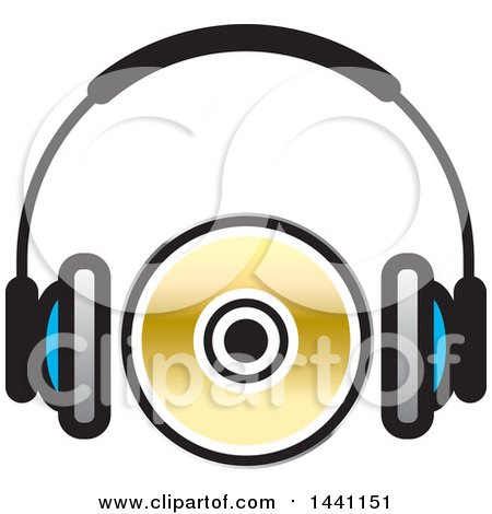 Clipart of a Pair of Headphones and a Cd or Dvd - Royalty Free Vector Illustration by Lal Perera