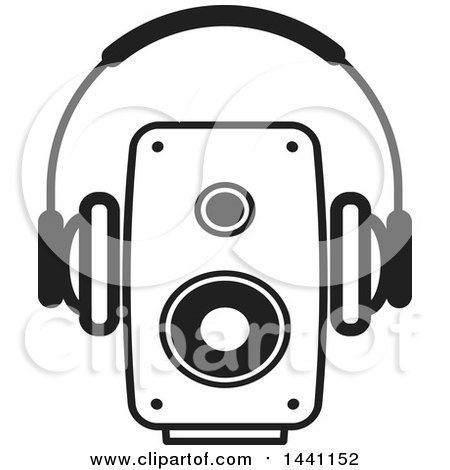 Clipart of a Black and White Pair of Headphones and a Speaker - Royalty Free Vector Illustration by Lal Perera