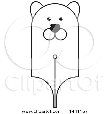Clipart of a Black and White Bear Head Pen Nib - Royalty Free Vector Illustration by Lal Perera