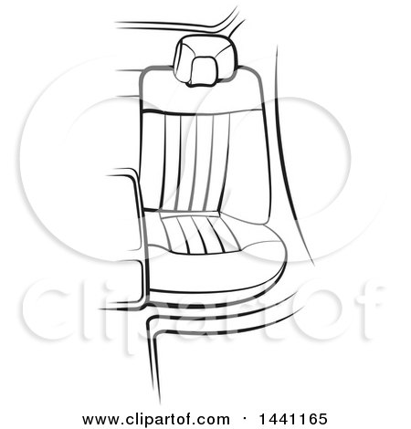 Clipart of a Black and White Seat in a Car over Green Strokes - Royalty Free Vector Illustration by Lal Perera