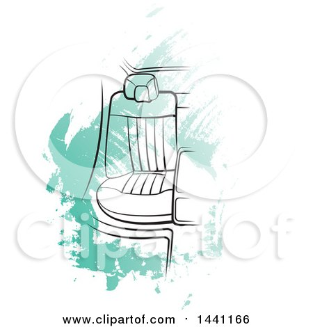 Clipart of a Seat in a Car over Green Strokes - Royalty Free Vector Illustration by Lal Perera