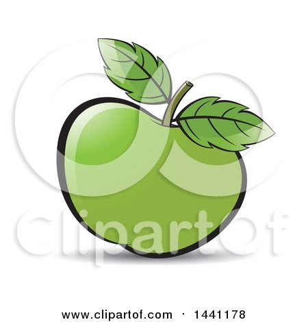 Clipart of a Green Apple and Leaves - Royalty Free Vector Illustration by Lal Perera