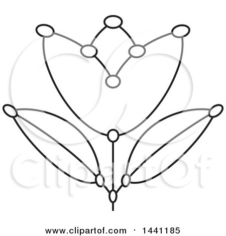 Clipart of a Black and White Segmented Dot Flower - Royalty Free Vector Illustration by Lal Perera