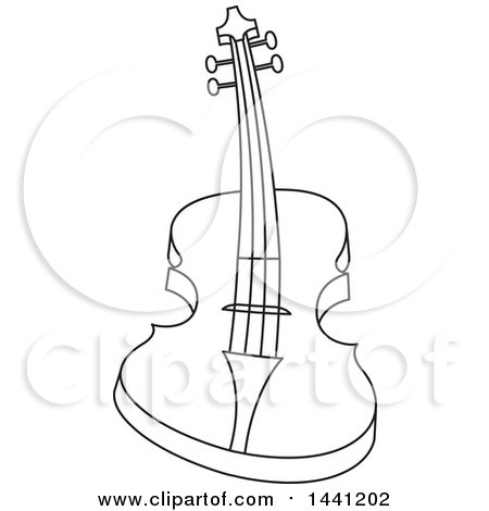Clipart of a Black and White Curved Guitar - Royalty Free Vector Illustration by Lal Perera