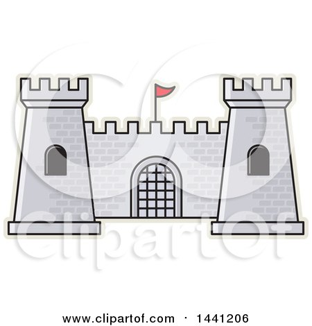Clipart of a Gray Brick Fortress Outlined in Tan - Royalty Free Vector Illustration by Lal Perera