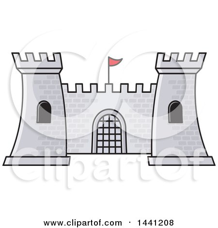 Clipart of a Gray Brick Fortress - Royalty Free Vector Illustration by Lal Perera