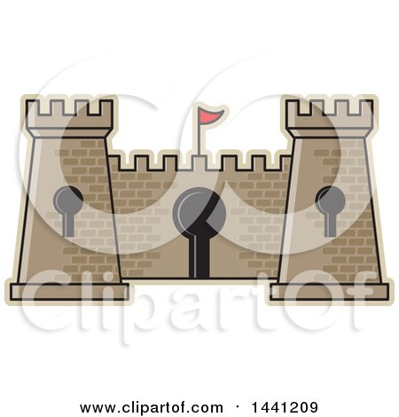 Clipart of a Brick Fortress with Key Holes - Royalty Free Vector Illustration by Lal Perera