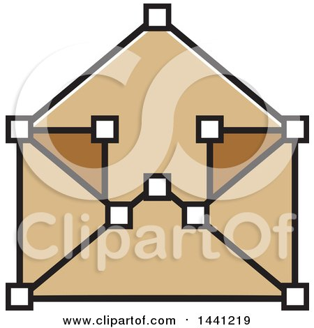 Clipart of a Brown Envelope Icon - Royalty Free Vector Illustration by Lal Perera