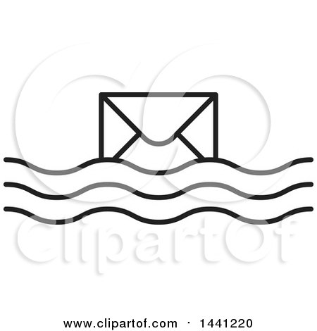 Clipart of a Black and White Floating Envelope Icon - Royalty Free Vector Illustration by Lal Perera