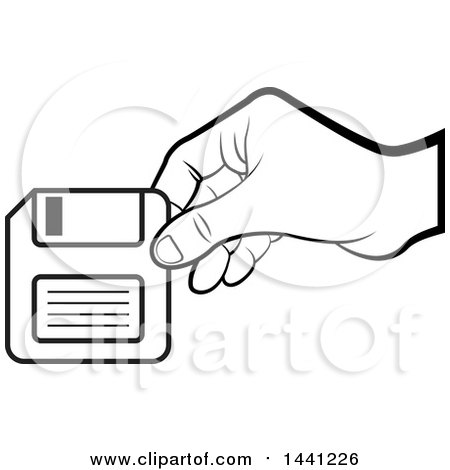 Clipart of a Black and White Hand Holding a Floppy Disk - Royalty Free Vector Illustration by Lal Perera