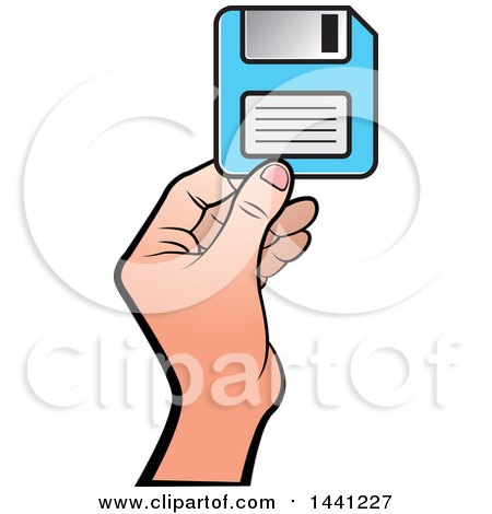 Clipart of a Hand Holding a Floppy Disk - Royalty Free Vector Illustration by Lal Perera
