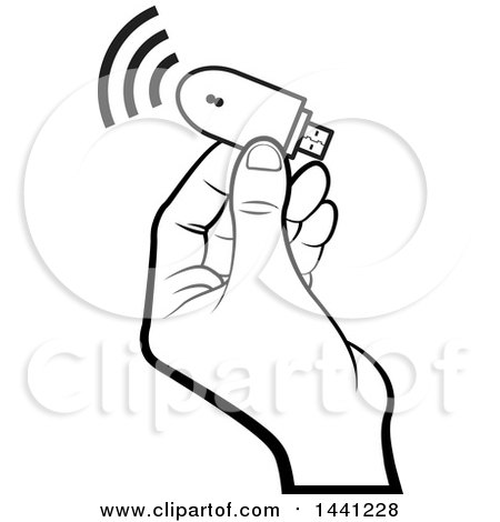 Clipart of a Black and White Hand Holding a Computer Wireless Usb Modem - Royalty Free Vector Illustration by Lal Perera