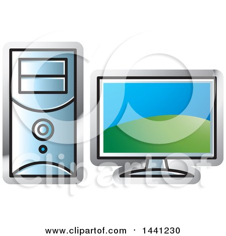 Clipart of a Desktop Computer Icon - Royalty Free Vector Illustration by Lal Perera