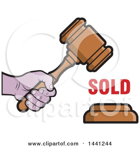 Clipart of a Black and White Gavel or Hammer Icon - Royalty Free ...