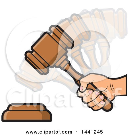 Clipart of a Hand Banging a Judge or Auction Gavel - Royalty Free Vector Illustration by Lal Perera