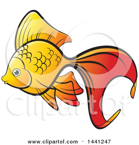 Clipart of a Fancy Goldfish - Royalty Free Vector Illustration by Lal Perera
