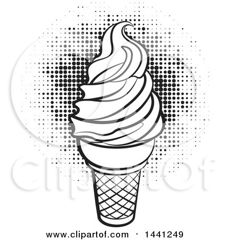 Clipart of a Black and White Waffle Ice Cream Cone over Halftone - Royalty Free Vector Illustration by Lal Perera