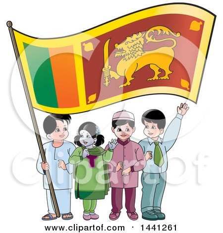 Clipart of a Group of Children with a Sri Lankan Flag - Royalty Free Vector Illustration by Lal Perera
