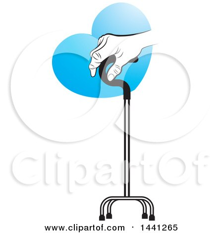 Clipart of a Senior Hand Holding onto a Walking Stick with a Blue Heart - Royalty Free Vector Illustration by Lal Perera