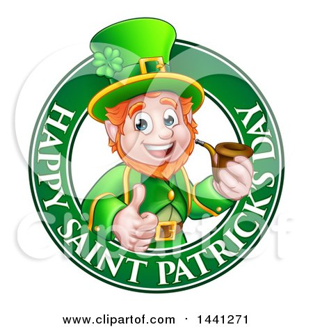 Clipart of a Cartoon Friendly Leprechaun Giving a Thumb up and Smoking a Pipe in a Happy Saint Patricks Day Greeting Circle - Royalty Free Vector Illustration by AtStockIllustration