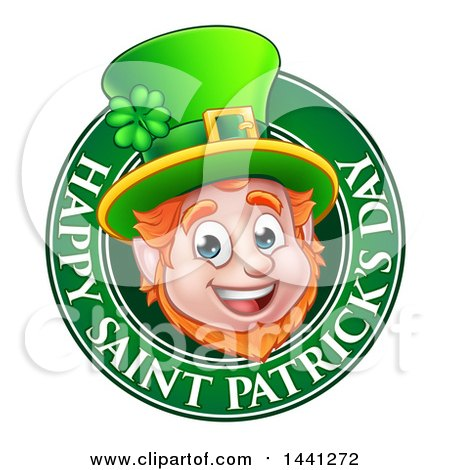 Clipart of a Cartoon Friendly Leprechaun Face in a Happy Saint Patricks Day Greeting Circle - Royalty Free Vector Illustration by AtStockIllustration