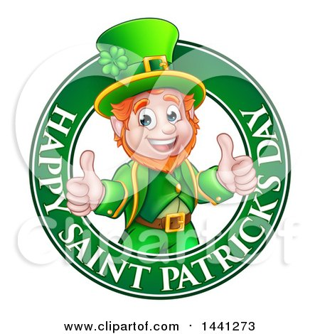 Clipart of a Cartoon Friendly Leprechaun Giving Two Thumbs up in a Happy Saint Patricks Day Greeting Circle - Royalty Free Vector Illustration by AtStockIllustration