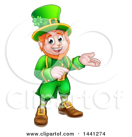 Clipart of a Cartoon Friendly St Patricks Day Leprechaun Presenting and Pointing - Royalty Free Vector Illustration by AtStockIllustration
