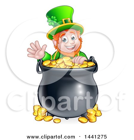 Clipart of a Cartoon Friendly St Patricks Day Leprechaun Waving over a Pot of Gold - Royalty Free Vector Illustration by AtStockIllustration