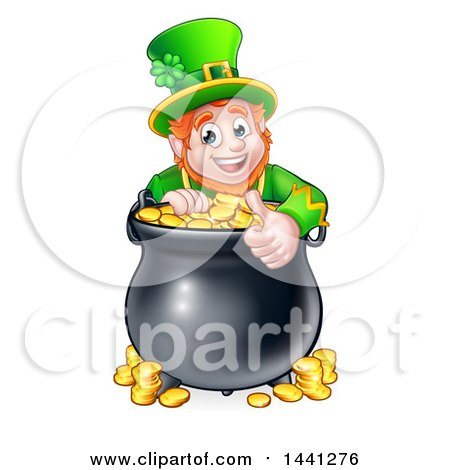 Clipart of a Cartoon Friendly St Patricks Day Leprechaun Giving a Thumb up over a Pot of Gold - Royalty Free Vector Illustration by AtStockIllustration