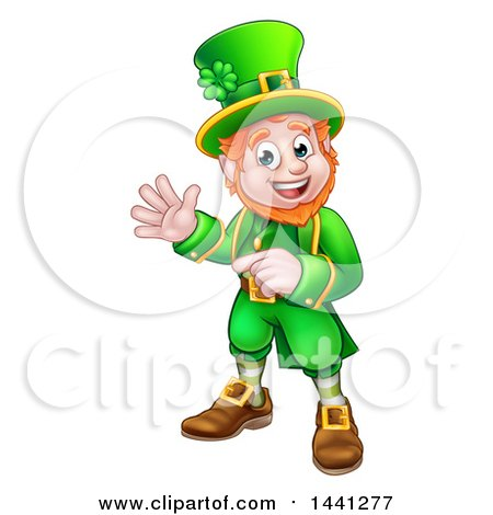 Clipart of a Cartoon Friendly St Patricks Day Leprechaun Waving and Pointing - Royalty Free Vector Illustration by AtStockIllustration