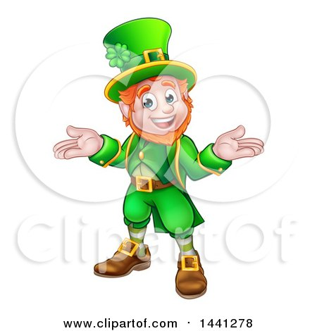 Clipart of a Cartoon Friendly St Patricks Day Leprechaun Shrugging - Royalty Free Vector Illustration by AtStockIllustration