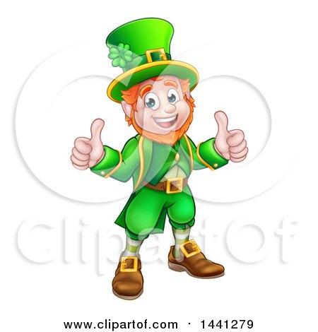 Clipart of a Cartoon Friendly St Patricks Day Leprechaun Holding up Two Thumbs - Royalty Free Vector Illustration by AtStockIllustration