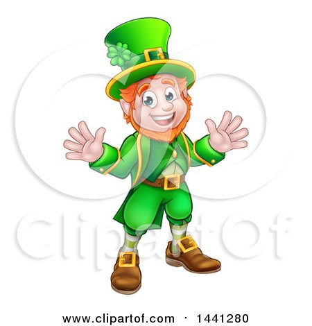 Clipart of a Cartoon Friendly St Patricks Day Leprechaun Welcoming - Royalty Free Vector Illustration by AtStockIllustration