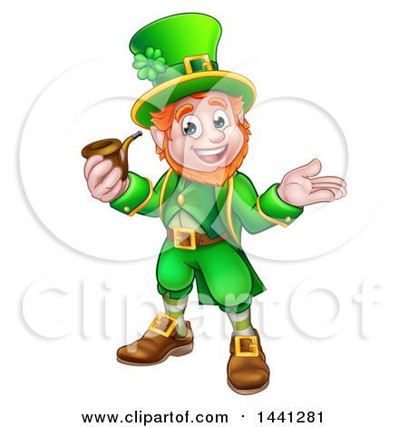 Clipart of a Cartoon Friendly St Patricks Day Leprechaun Presenting and Holding a Pipe - Royalty Free Vector Illustration by AtStockIllustration