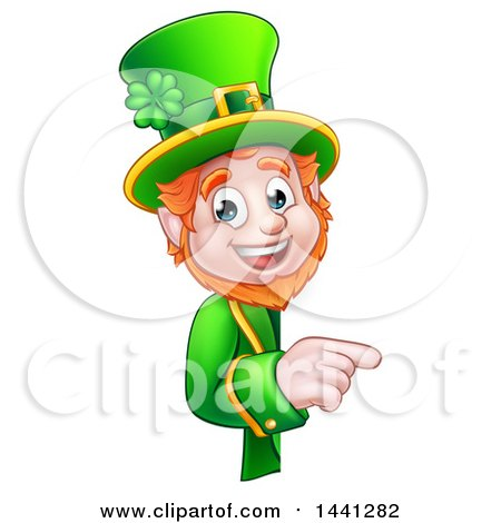 Clipart of a Cartoon Friendly St Patricks Day Leprechaun Pointing Around a Sign - Royalty Free Vector Illustration by AtStockIllustration